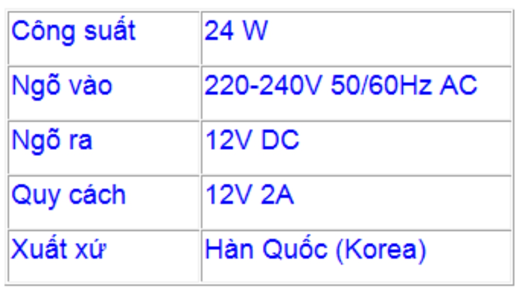 Thông số kỹ thuật nguồn adapter 12V 2A Hàn Quốc